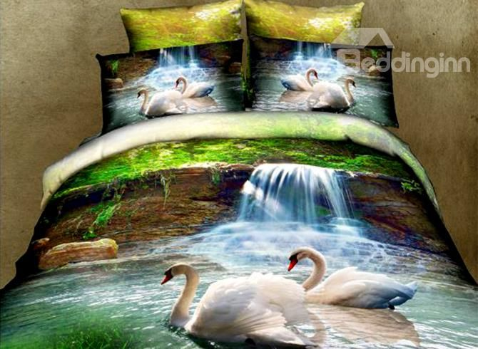 White Swans And Waterfall Print 4 Piece Polyester 3d Duvet Cover