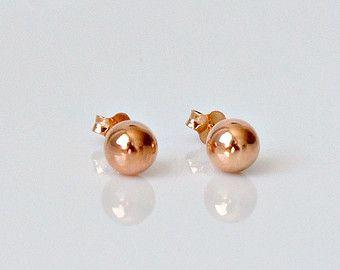 Rose Gold Ball Earrings Pink 6mm Stud Women Gift Tiffany
