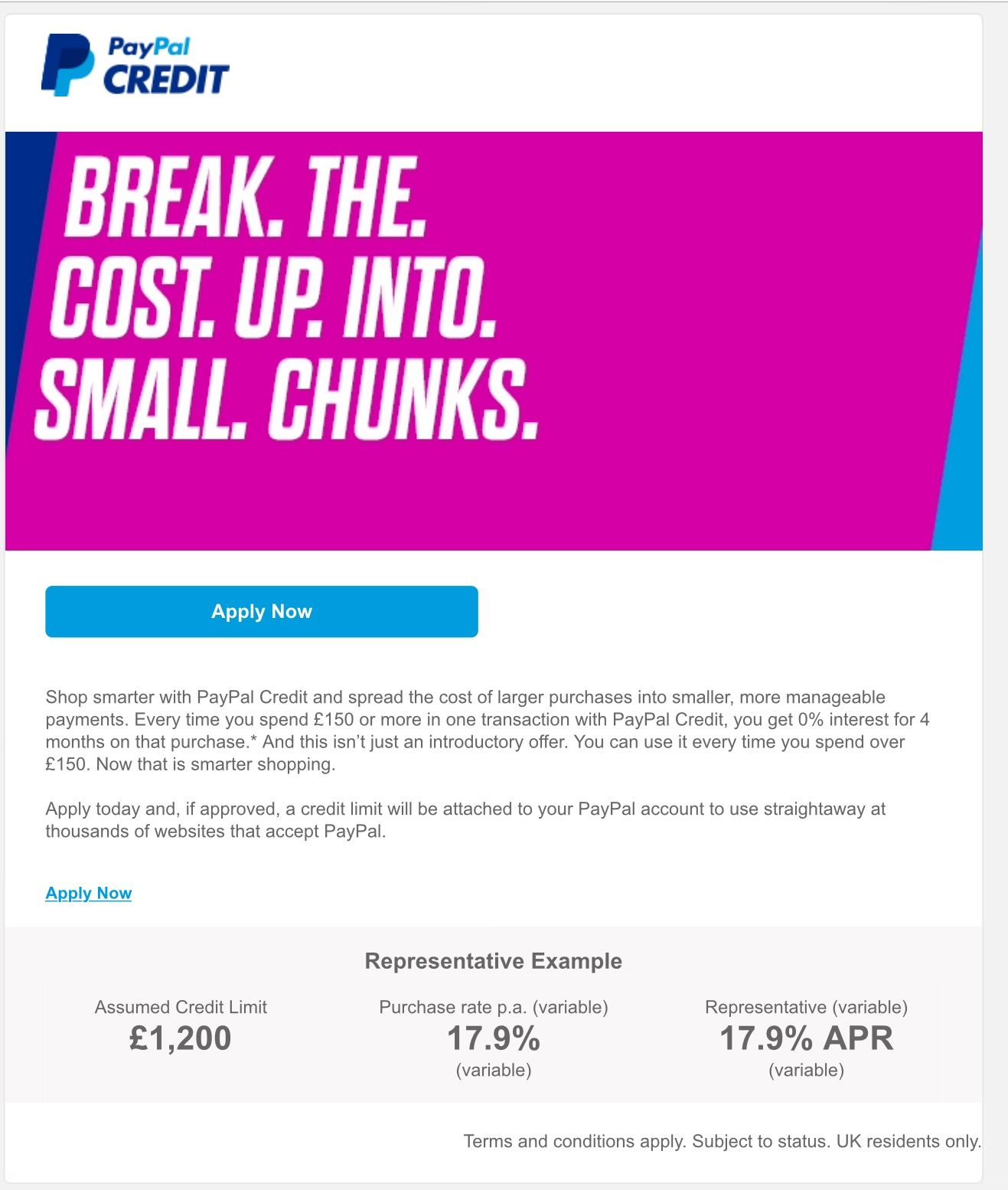 Paypal Credit Spreading The Amount In Affordable Easy Chunks