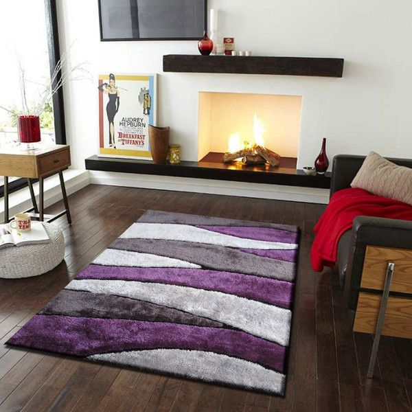 handmade vibrant gray with purple shag area rug with hand carved design