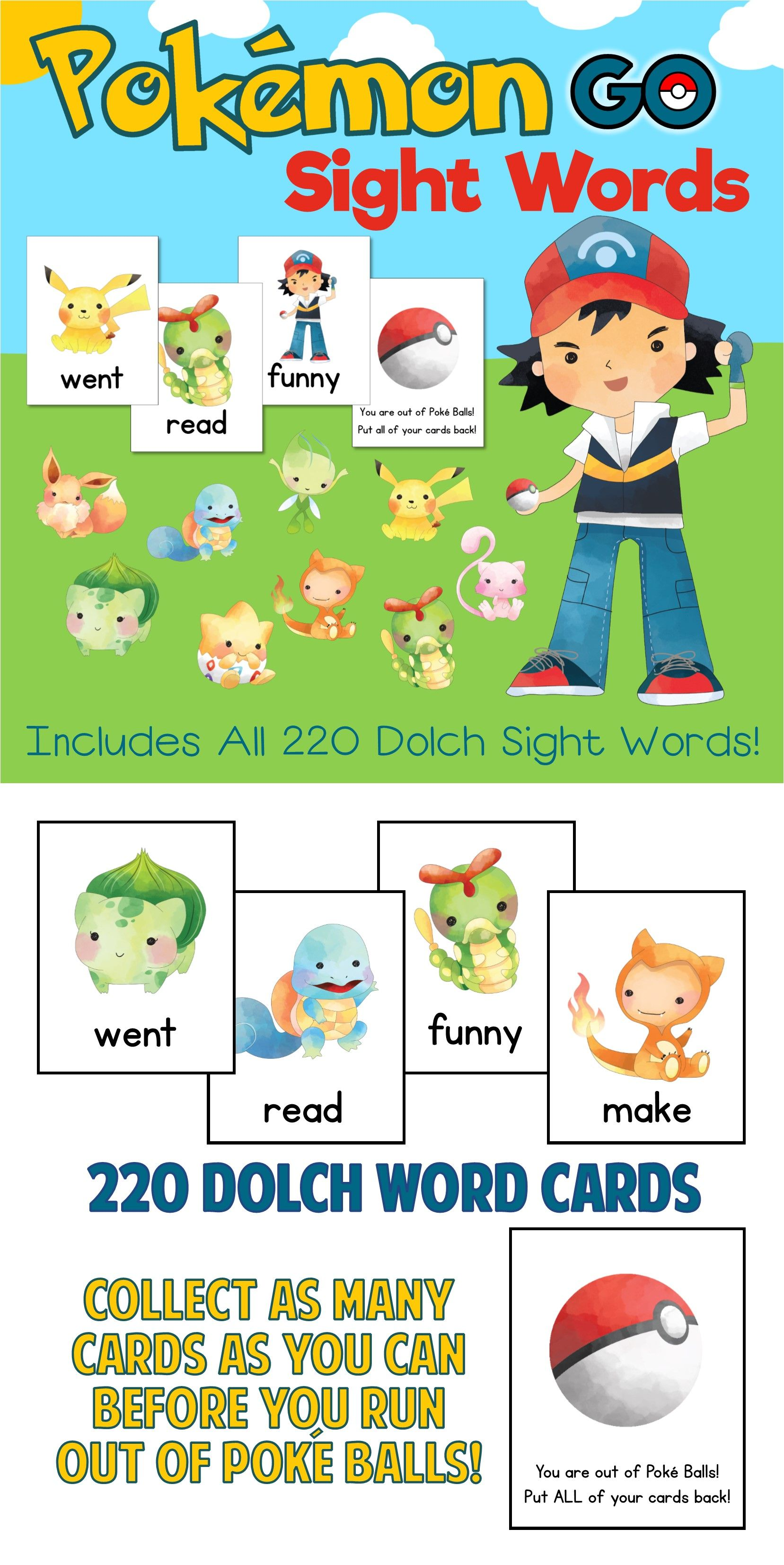 Pokemon Go Sight Words Game Available In Dolch And Fry Word Versions Collect As Many Pokemon Cards As Y Dolch Sight Word Games Sight Word Games Sight Words [ 3305 x 1657 Pixel ]