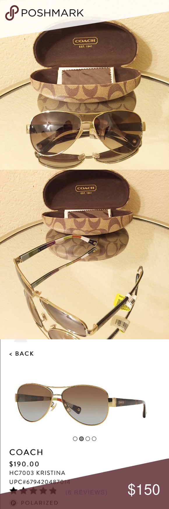 "Coach ""Kristina"" Polarized Sunglasses Gorgeous!! Case and wipe cloth included! Coach Accessories Sunglasses"