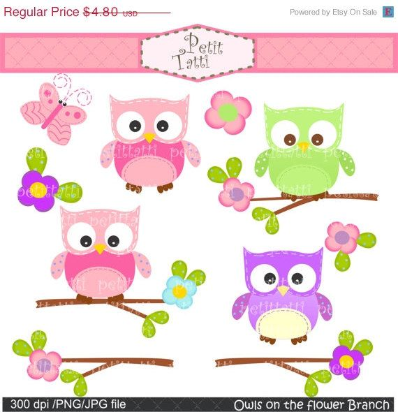 ON SALE Owl on the flower branch clip art  Digital by petittatti