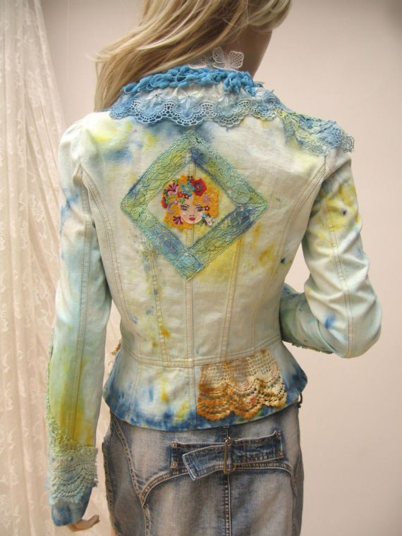 Embroidered Upcycled Wear Jeans Art Jacket To Art Wearable Hand zzgZqXw