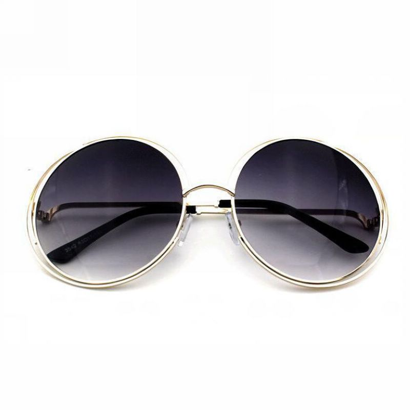 Womens Vintage Round Wire Oversized Sunglasses Metal Gold Frame Gray ...