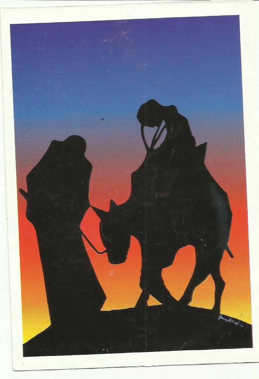 """En Camino""  réplica en tarjeta de óleo sobre lienzo del Padre Juan Carrasquilla O.  Sacerdote Salvatoriano"