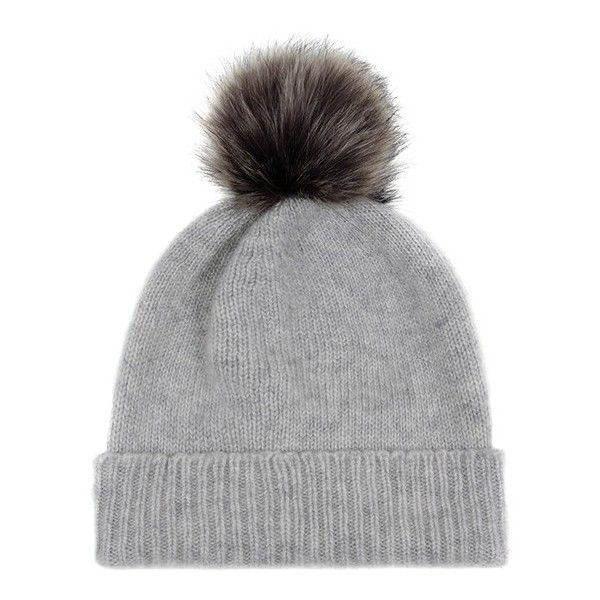 a8be2989ddd025 Light Grey/Lady Grey Cashmere Faux Fur Pom-Pom Beanie ❤ liked on Polyvore  featuring accessories, hats, pom beanie, beanie hats, cashmere hat, cashmere  ...