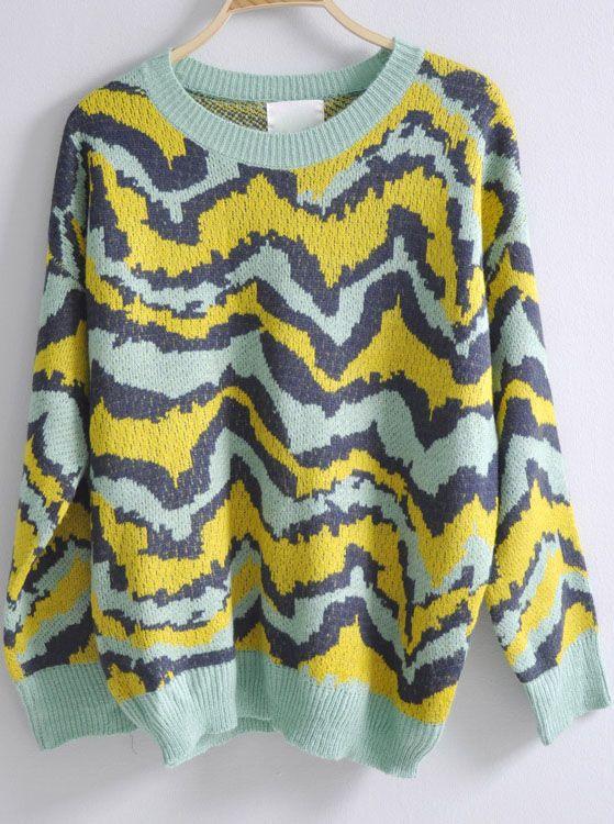 Yellow Green Batwing Long Sleeve Leopard Sweater