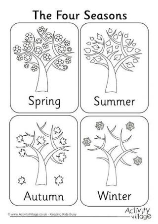 Cool And Opulent Seasons Coloring Pages Printable Four