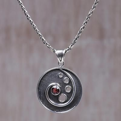 Sterling silver and garnet pendant necklace morning surf garnet garnet pendant necklace morning surf sterling silver and garnet pendant necklace aloadofball Image collections