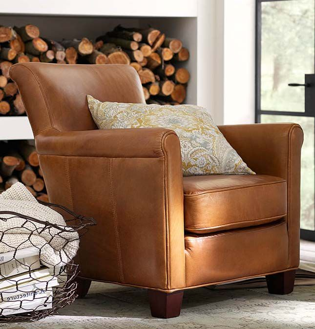 Irving Leather Armchair Polyester Wrapped Cushions