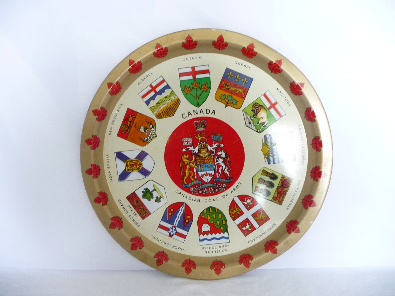 Canadian Coat of Arms Tin Serving Tray, Bar Ware