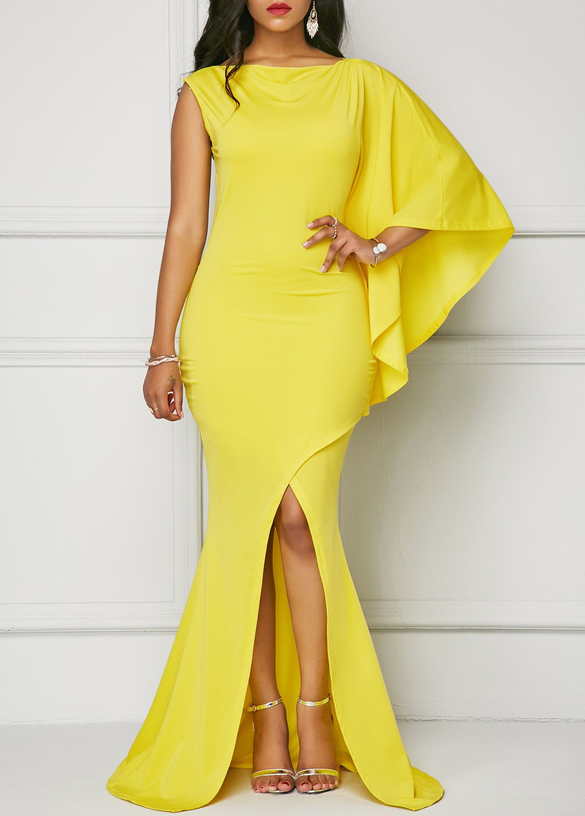 b0c31533686b2 Yellow One Sleeve Front Slit Maxi Dress | Rosewe.com - USD $33.60 ...