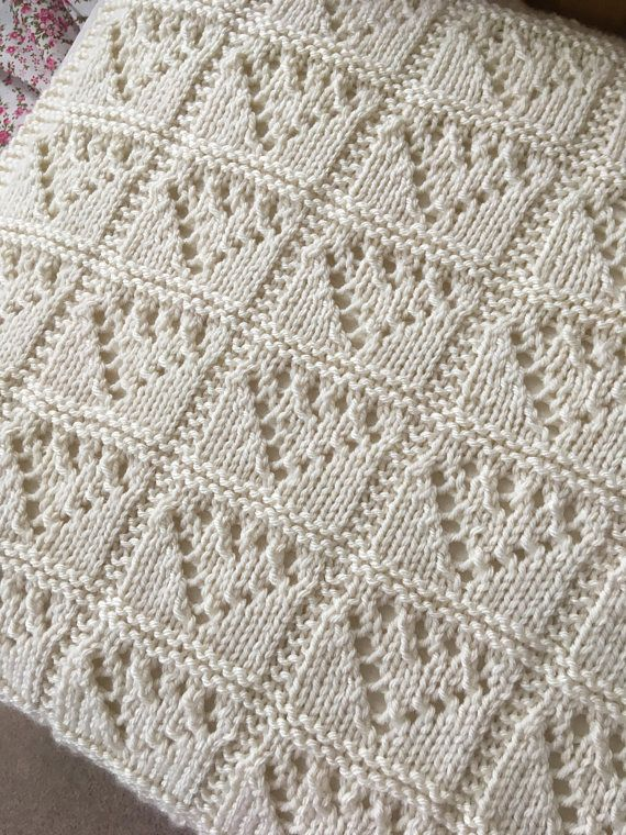 Lace Hearts Baby Blanket Knitting Pattern Pdf Aran Worsted Afghans