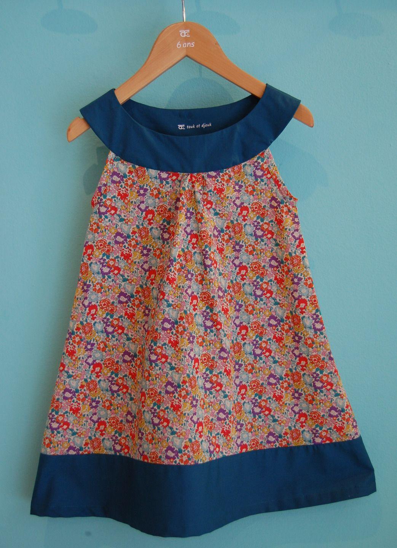 "Robe ""Iris"": petite robe sans manche forme trapèze en Liberty Michelle : Mode filles par touk-et-djouk"