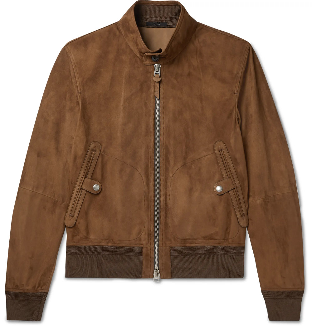 Tom Ford S Bomber Jacket Is The Kind Of Enduring Staple That Ll Last In Your Wardrobe For Years Suede Bomber Jacket Men Suede Bomber Designer Leather Jackets [ 1044 x 1000 Pixel ]