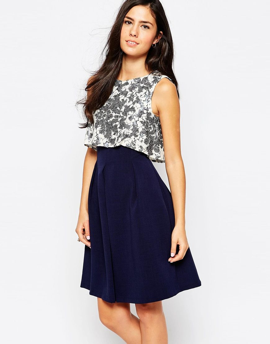 closet dress with sequin top and pleat skirt homecoming