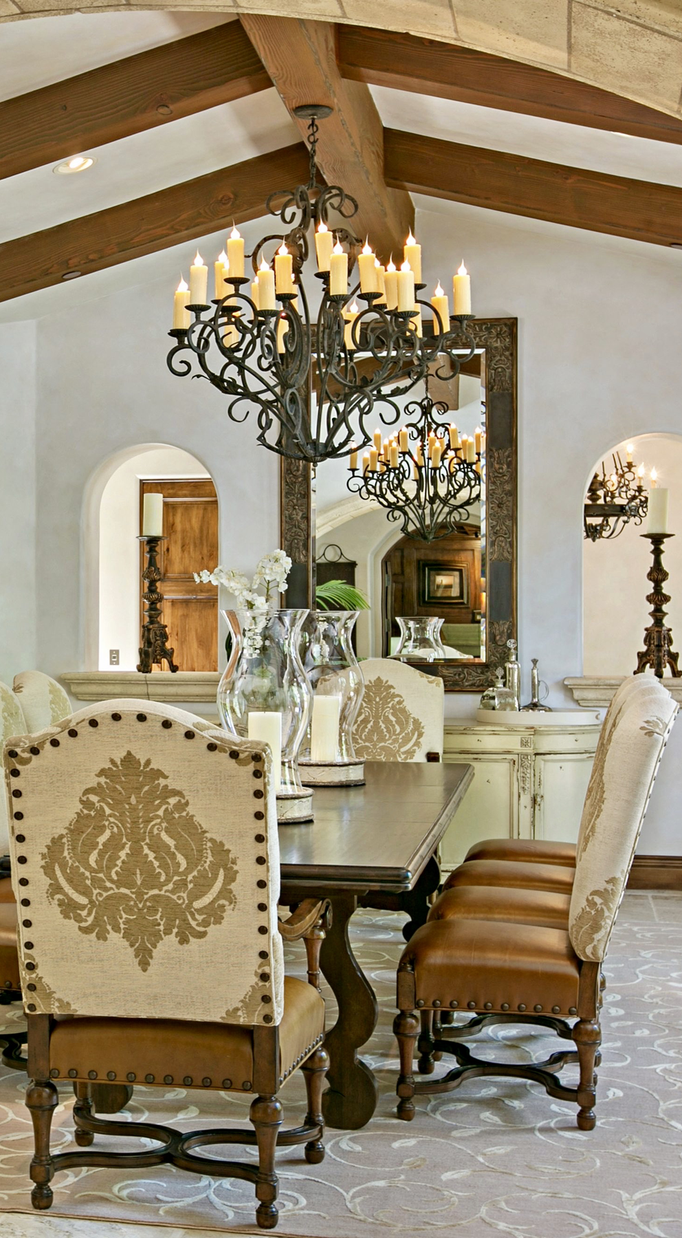 Old World Mediterranean Italian Spanish Tuscan Homes Design Decor Dining Room