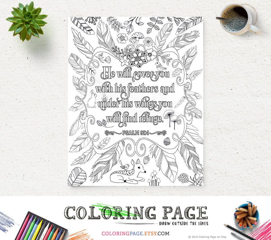 Coloring Page Printable Feather Bible Verse Psalm 91 Instant