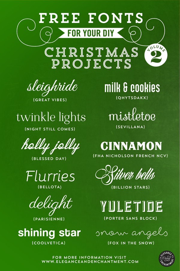 Free Fonts for Christmas Projects - DIY, Crafts, Cards, and Blogging // From Elegance & Enchantment