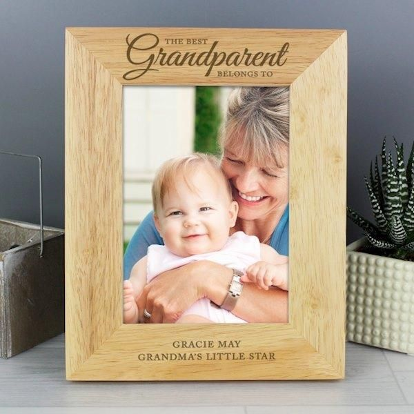 Personalised 5x7 'The Best Grandparent' Wooden Frame #grandparentphoto This 5x7 'The Best Grandparent' photo frame is the perfect way to show your love for your Grandparent.Personalise this portrait wooden frame with any message over 2 lines of 30 characters per line.The words 'The best Grandparent belongs to' is fixed.All personalisation will appear in block capitals.Frames are made from #grandparentphoto