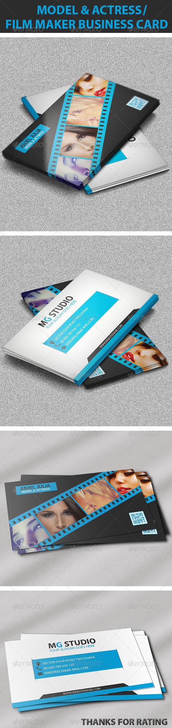 Colorful Actress Business Cards Component Business Card Ideas