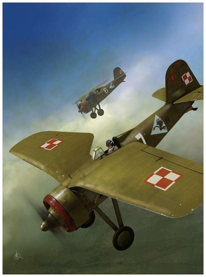 PZL P11a – polski samolot myśliwski. 112 Eskadra Myśliwska, wrzesień 1939. Rys. Andrzej Rutkowiak. https://www.facebook.com/wojskopolskie19391945/photos/a.378968358968176.1073741830.376641135867565/383402711858074/?type=1