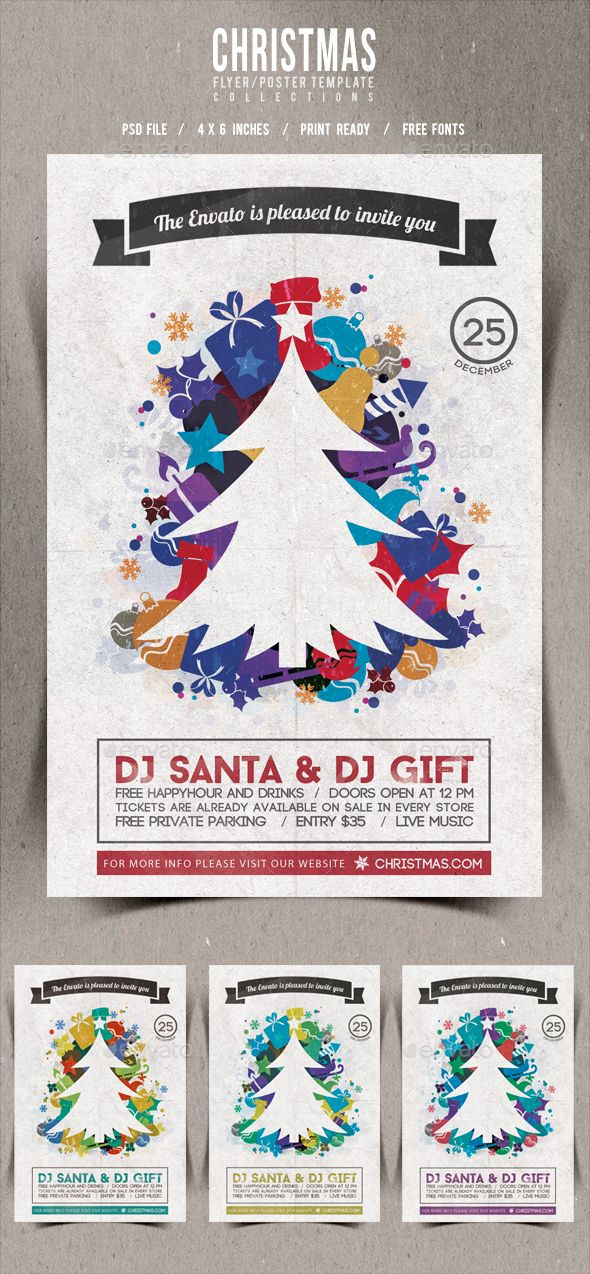 Christmas FlyerPoster Retro Vol  Xmas Christmas Flyer And
