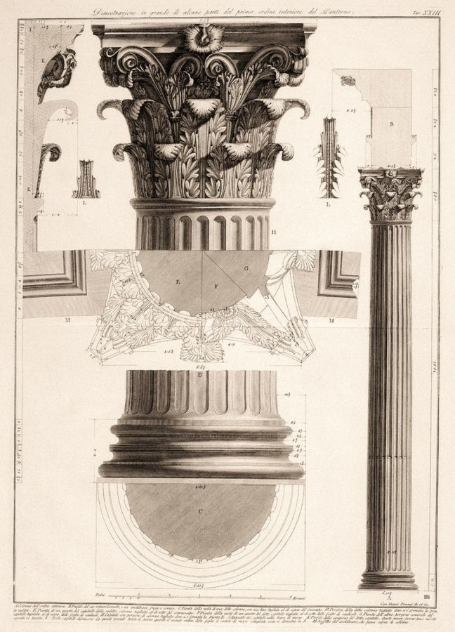 Giovanni Battista Piranesi - Corinthian column. architectural details.engraving. Giovanni Battista Piranesi, Italian, 1720-1788.