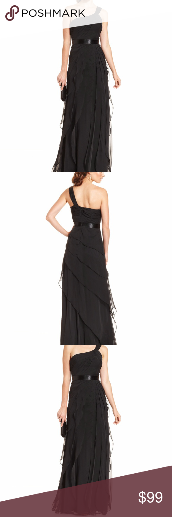 Adrianna Papell One-Shoulder Tiered Chiffon Gown NWT