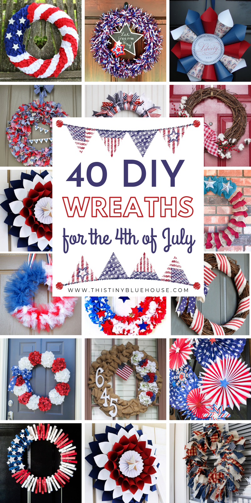 40+ Patriotic DIY Dollar Store 4th Of July Wreaths - This Tiny Blue House #holidaysinjuly
