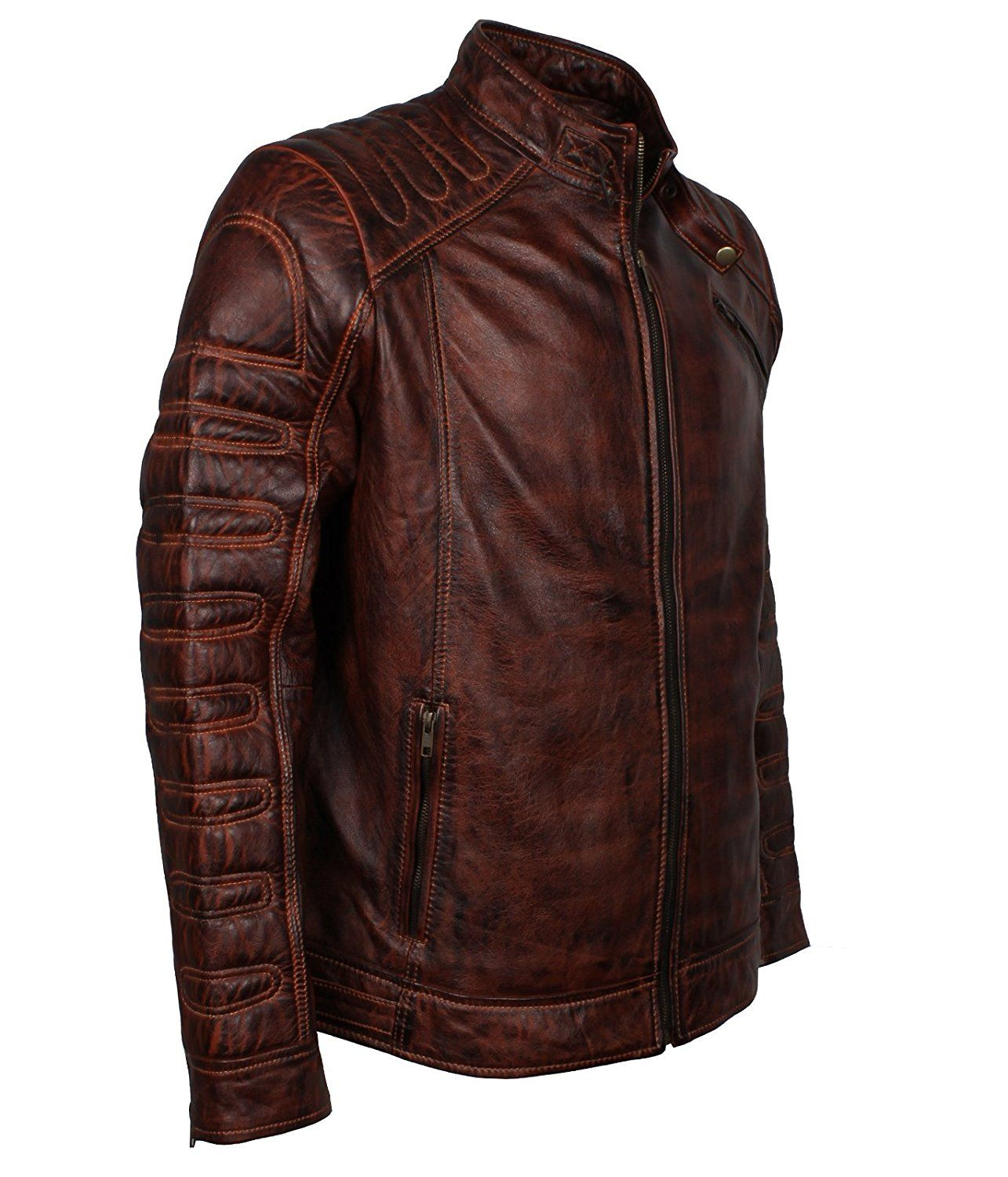 Mens Dark Brown Vintage Waxed Brando Biker Genuine Leather