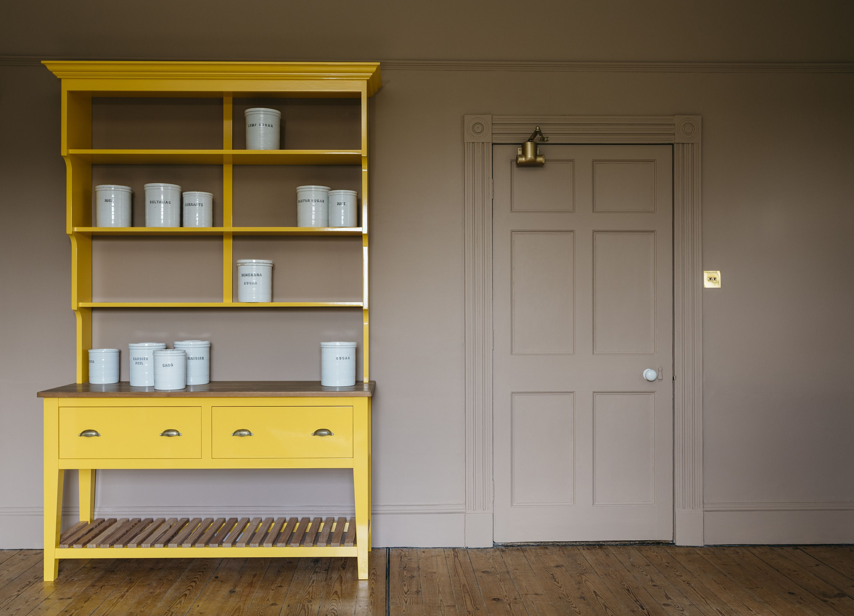 A Plain English Pot Board Dresser hand painted in an exclusive Plain English paint colour Boiled Egg.  Interor designers and cupboard makers. #plainenglishkitchen