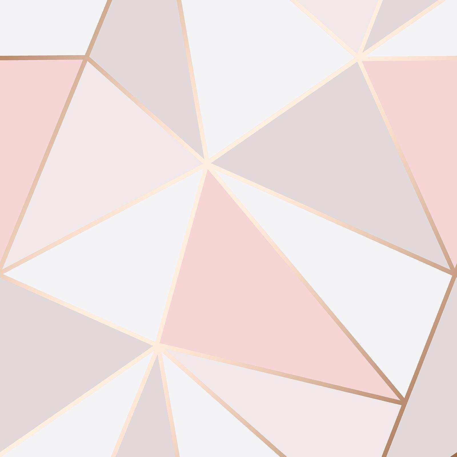 Apex Geometric Wallpaper Rose Gold Pink Fine Decor Fd