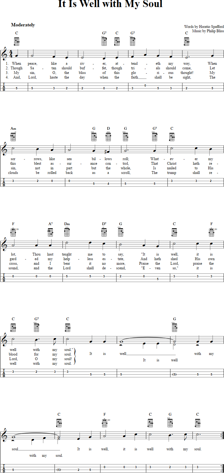 It Is Well With My Soul Mandolin Tab   Mandolin songs, Ukulele ...