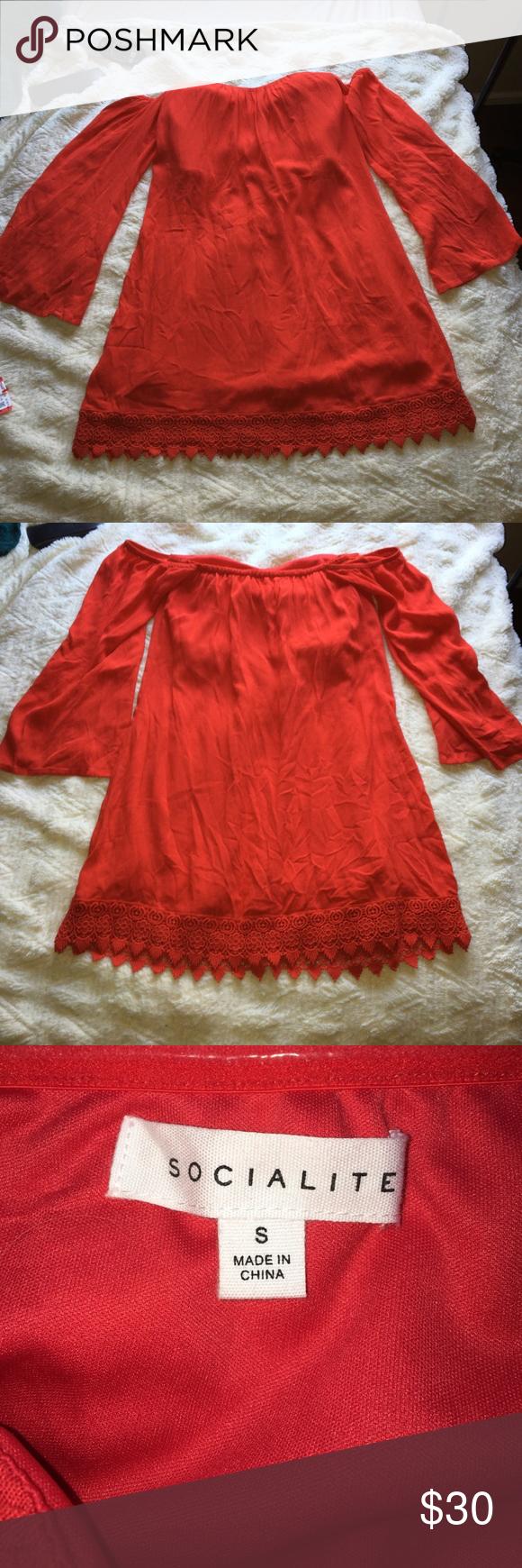 Nwot socialite red off the shoulder dress final shoulder dress