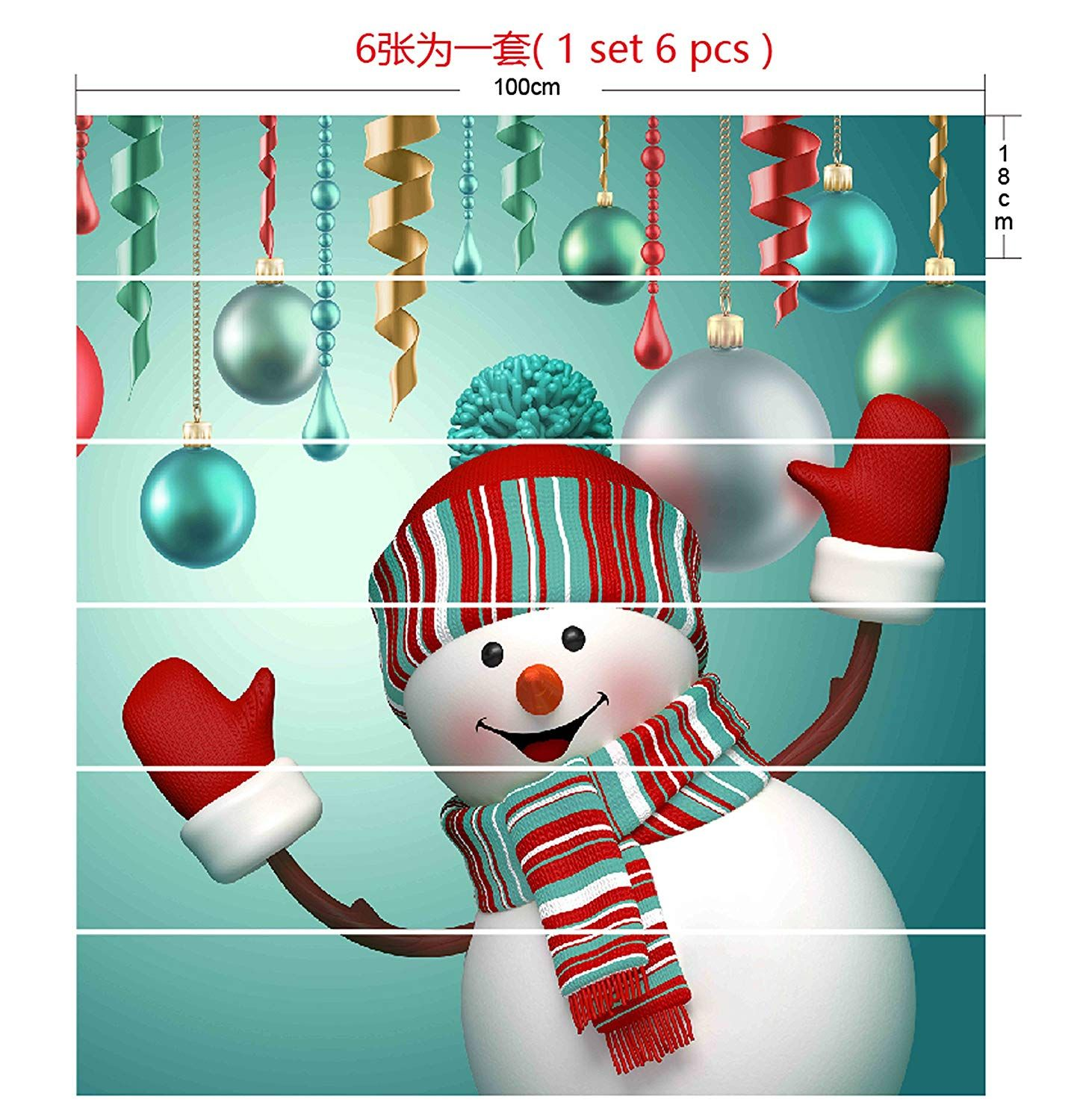 6pcs set Christmas Snowman 3D Stair Risers Stickers Set Staircase
