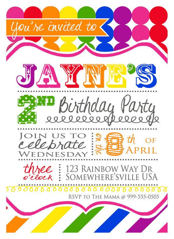 rainbow art birthday party invitations printable diy colorful