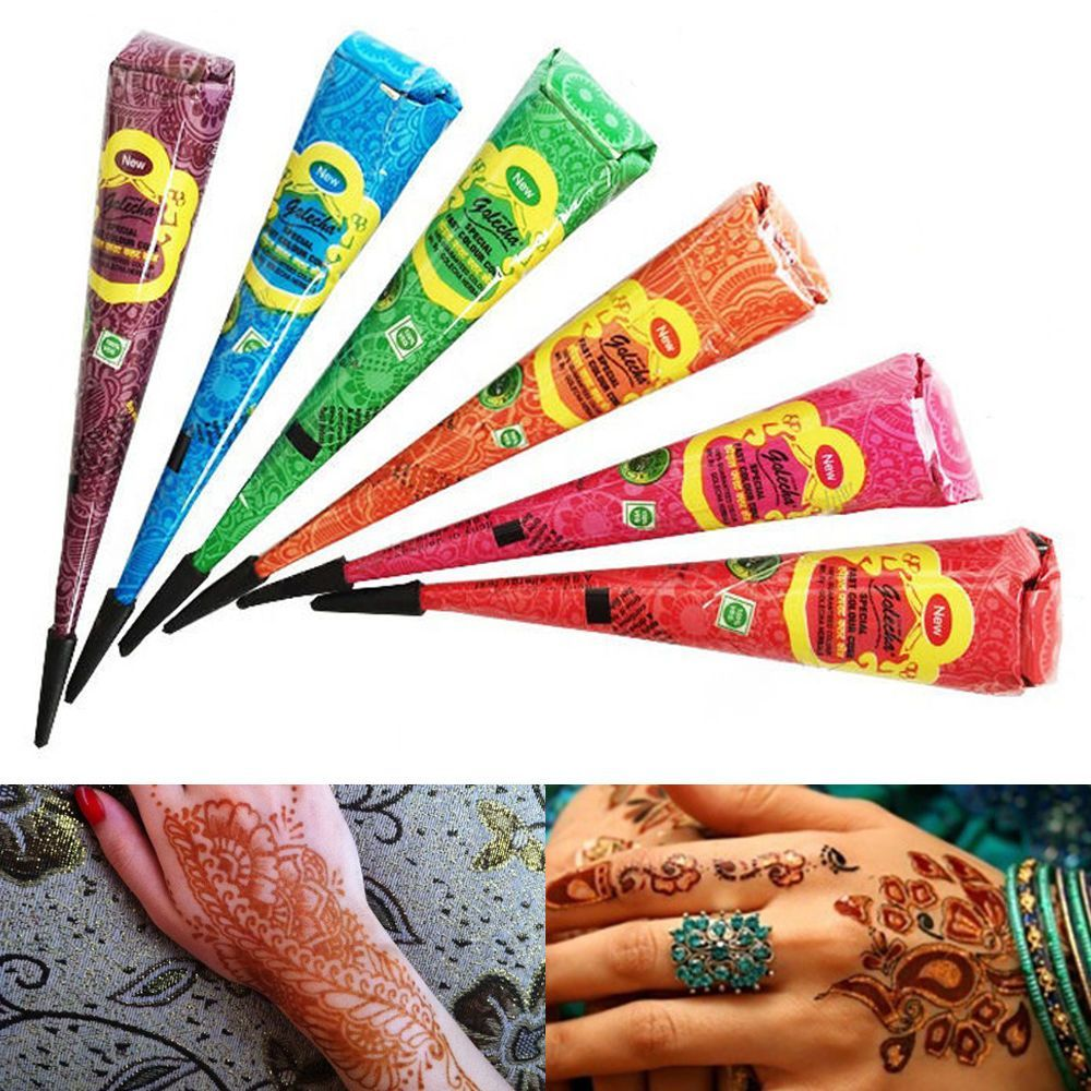 6 Colors Original Henna Natural Plant Tattoo Paste Temporary Tattoo