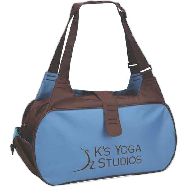 Spalding Yoga bag. Large carrying handles double as shoulder straps | Large main zippered compartment | Second smaller zip pocket | Strap to secure mat | Yoga class | Promotional | Promo product | Brand | Fitness | Callard | Gift | Athletics | Exercise