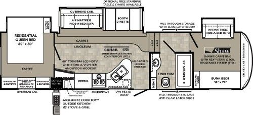 5th Wheel Front Bunkhouse Floor Plans Google Search Rv Floor Plans Camper Flooring Fifth Wheel Campers