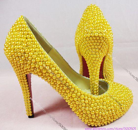 Lemon Yellow Wedding Shoes NEW FASHION Handmade High Heeled Rhinestone And Matching Clutch Bag