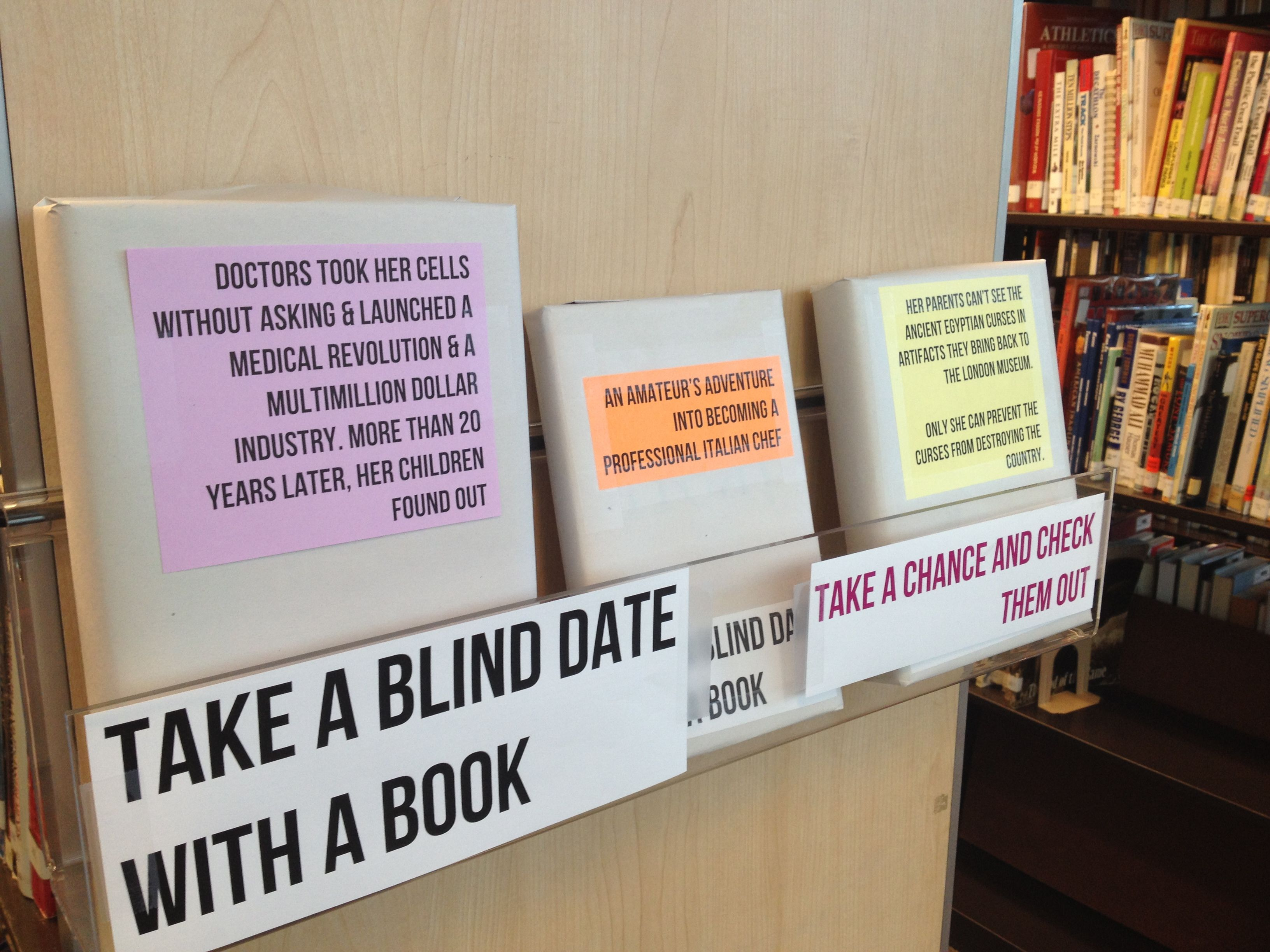 Blind Date with a Book Display Paul Cummins Library Crossroads