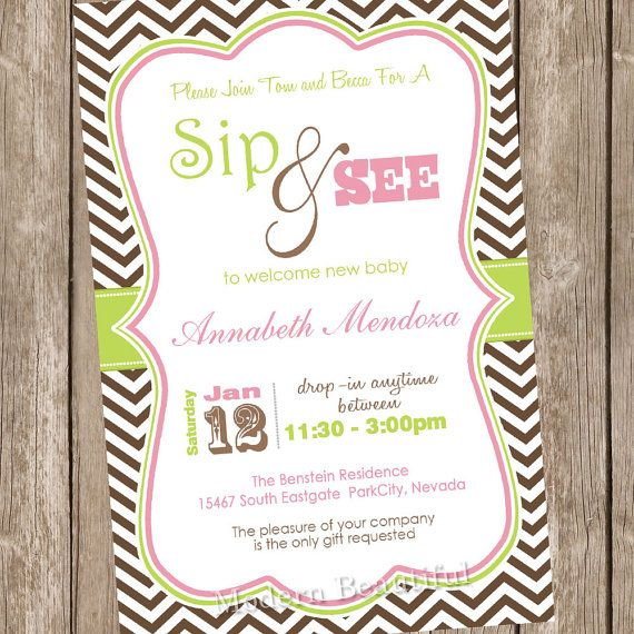 baby girl sip and see invitation chevron baby shower invitation