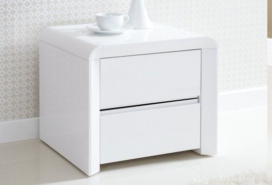 Ice High Gloss 2 Drawer Bedside - White | Side tables ...