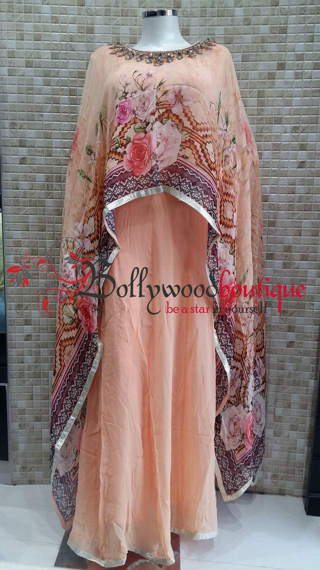 Cape Dress Designer Wear Cape Dress Peach Color