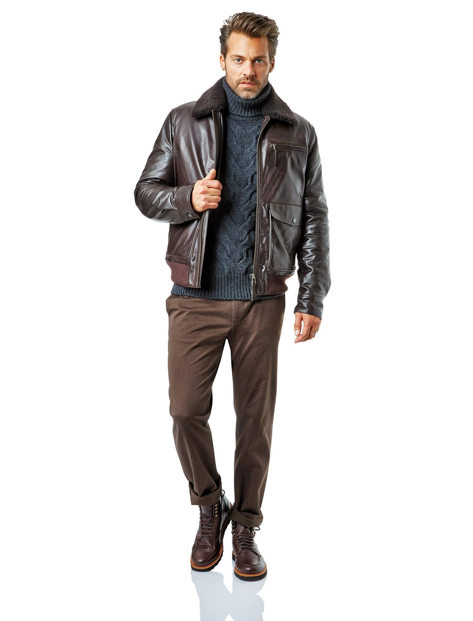 Baldessarini Fall Winter Lookbook 2014 2015 #menswear #style #brown  #leather #jacket #boots #sweater #turtleneck