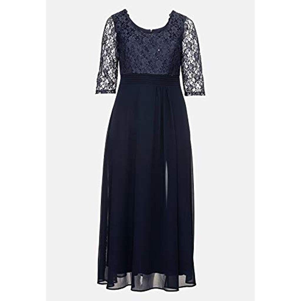Sheego Damen Abendkleid mit mit paillettenbesetzter Spitze