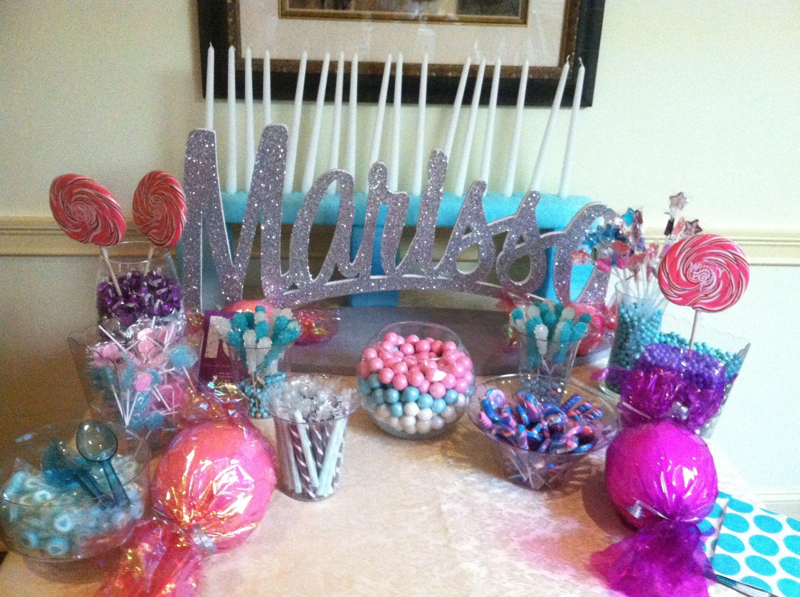 Candy buffet ideas for sweet sixteen - Sweet 16 Centerpiece Candy Buffet