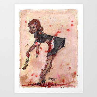 Zombie Pin-up Girl Art Print by The Inkling Girl - $17.50